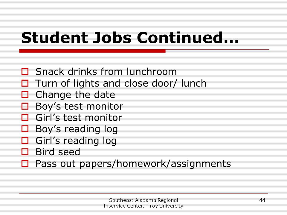 Student Jobs Continued…