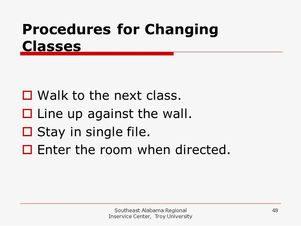 Procedures for Changing Classes