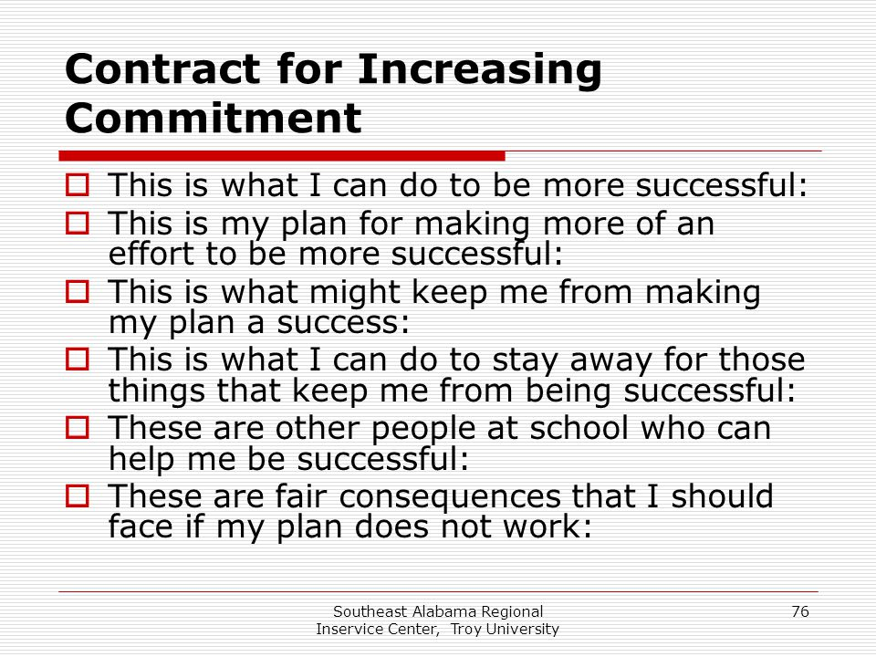 Contract for Increasing Commitment
