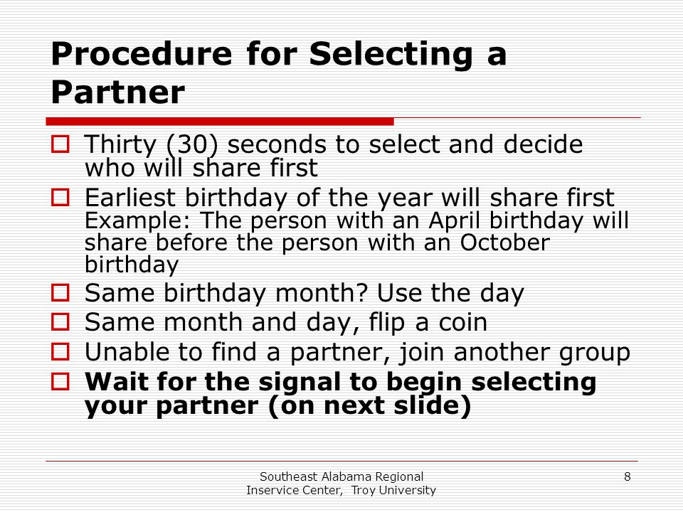 Procedure for Selecting a Partner