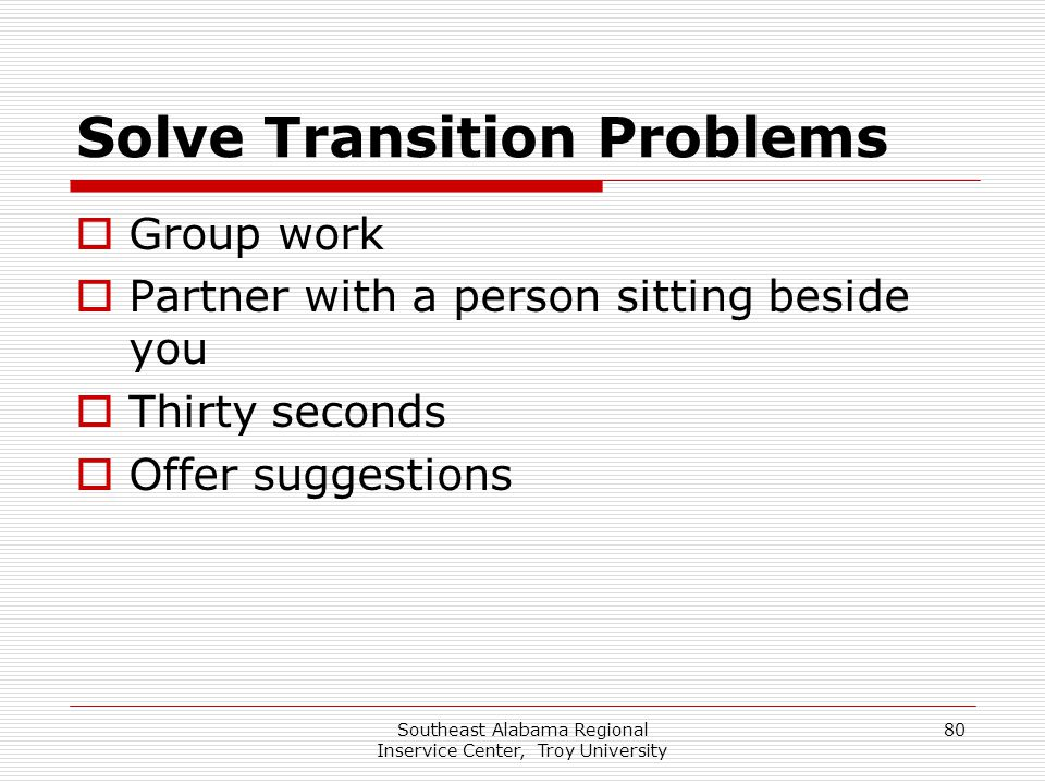 Solve Transition Problems
