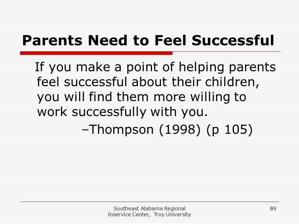 Parents Need to Feel Successful