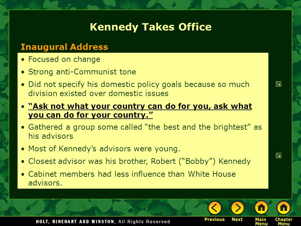 Kennedy Takes Office Inaugural Address Kennedy's Advisors