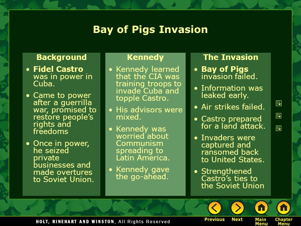 Bay of Pigs Invasion Background Fidel Castro was in power in Cuba.