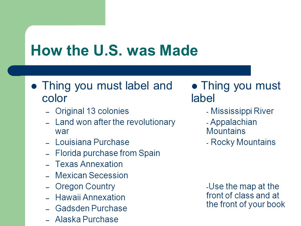 How the U.S. was Made Thing you must label and color