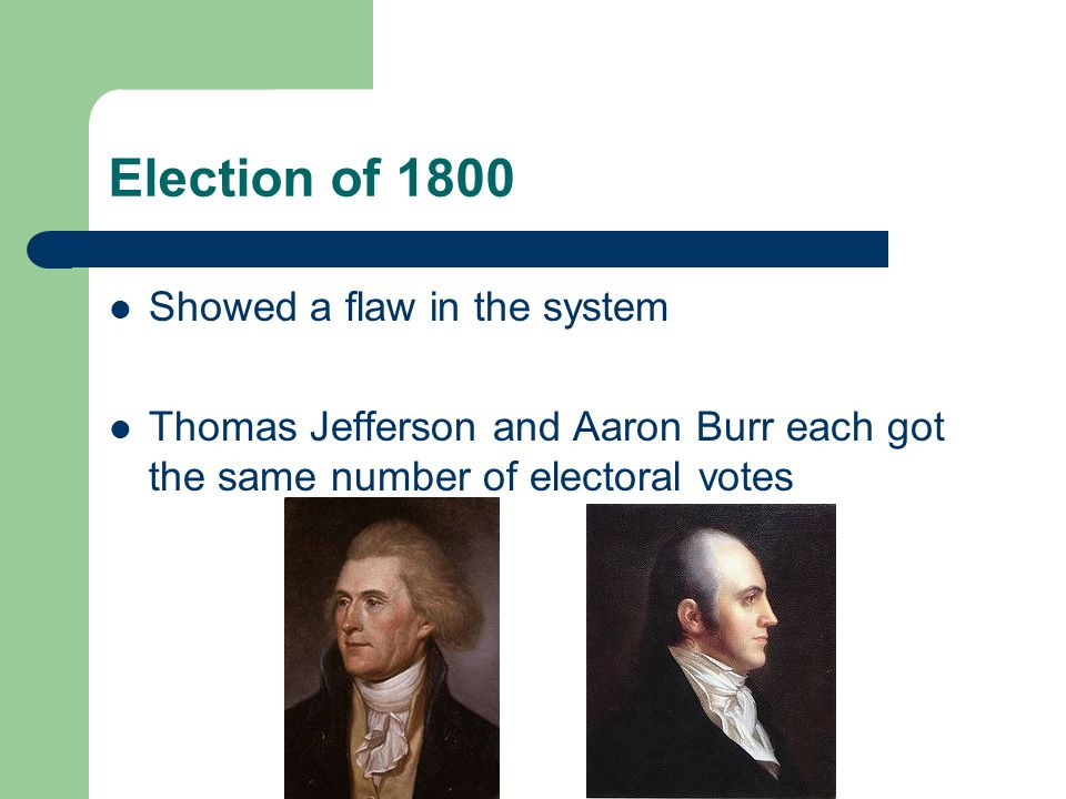 Election of 1800 Showed a flaw in the system