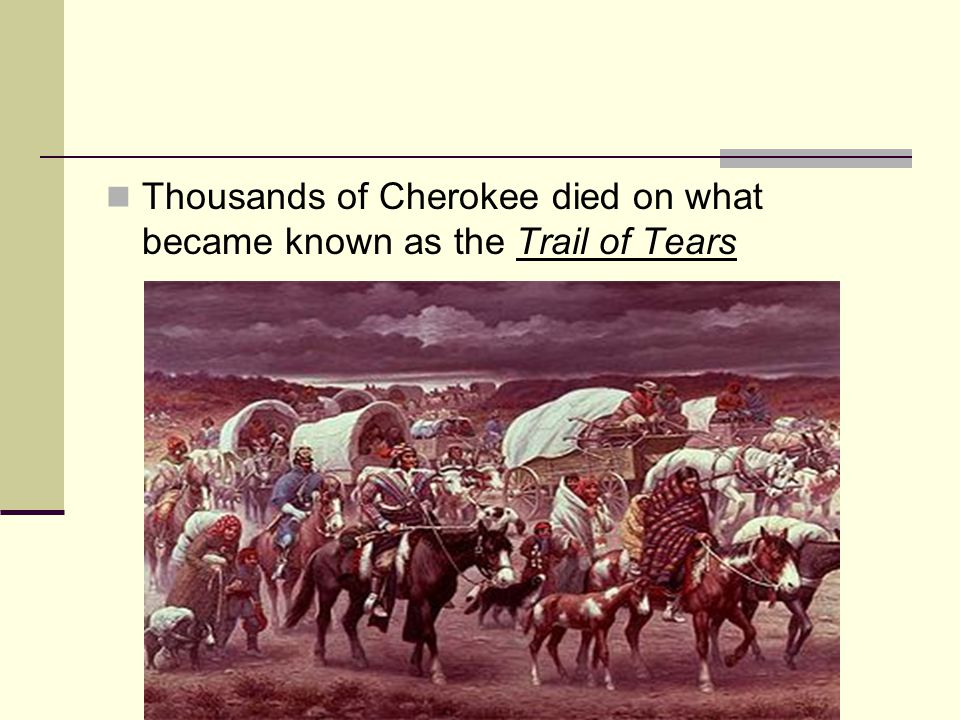 Thousands of Cherokee died on what became known as the Trail of Tears