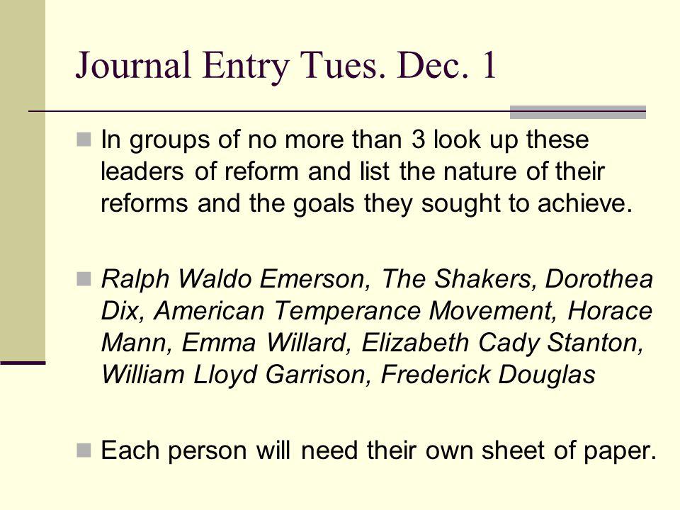 Journal Entry Tues. Dec. 1