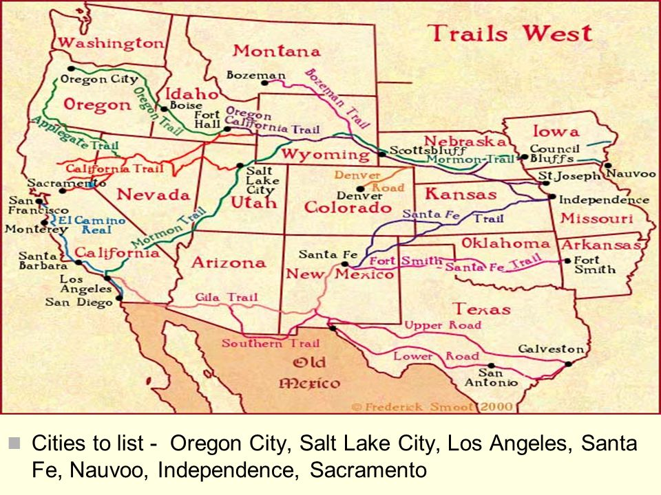 Cities to list - Oregon City, Salt Lake City, Los Angeles, Santa Fe, Nauvoo, Independence, Sacramento
