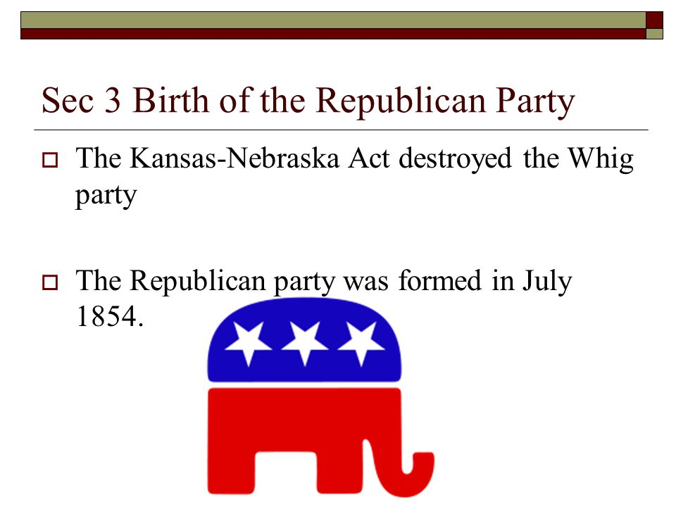 Sec 3 Birth of the Republican Party