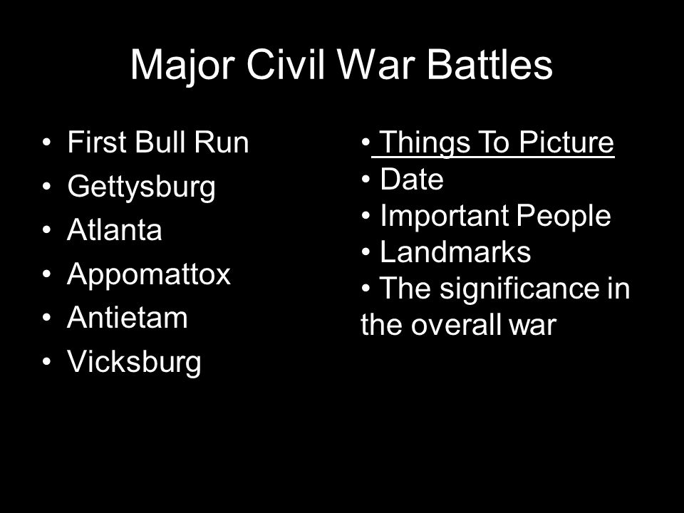 Major Civil War Battles