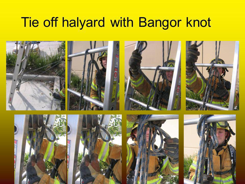 Tie off halyard with Bangor knot