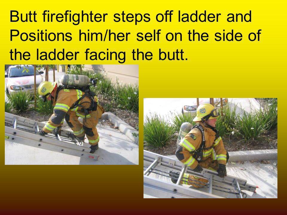 Butt firefighter steps off ladder and