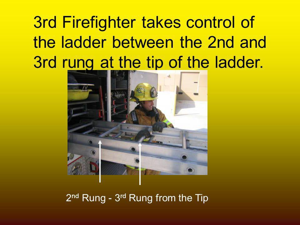3rd Firefighter takes control of the ladder between the 2nd and