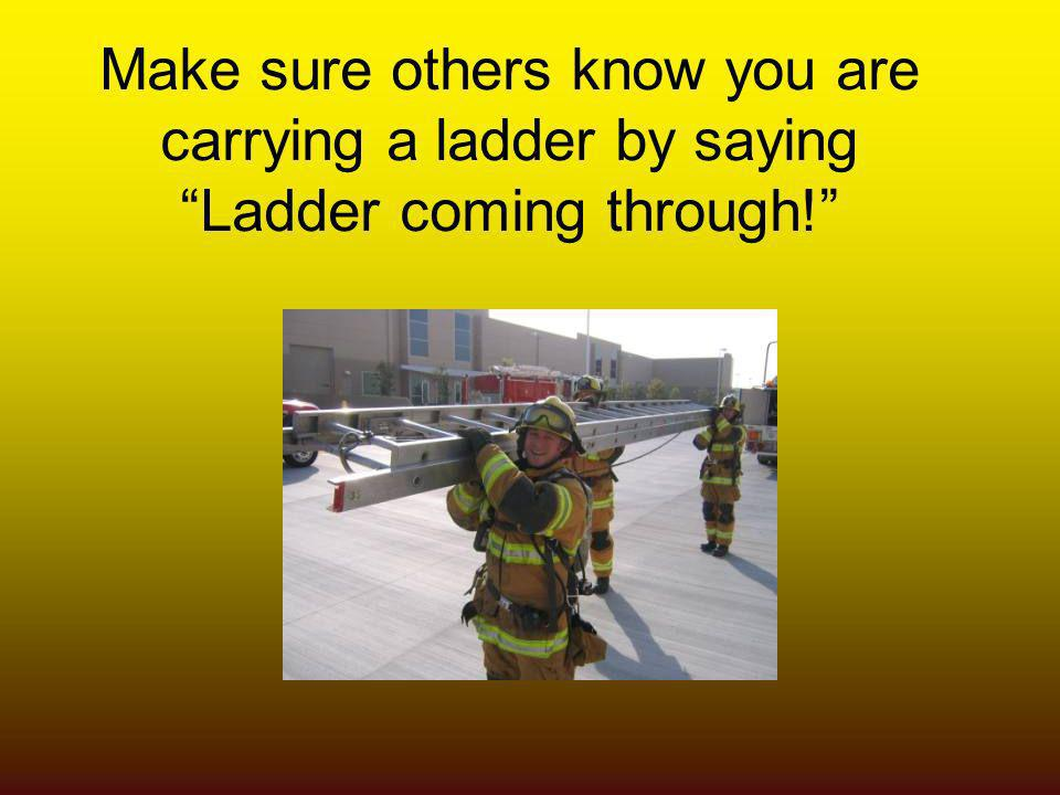 Make sure others know you are carrying a ladder by saying