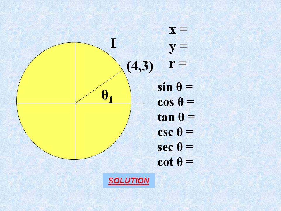 x = y = I r = (4,3) θ1 sin θ = cos θ = tan θ = csc θ = sec θ = cot θ =