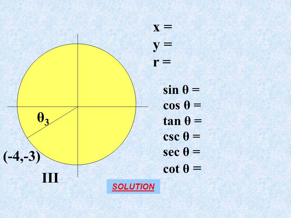 x = y = r = θ3 (-4,-3) III sin θ = cos θ = tan θ = csc θ = sec θ =