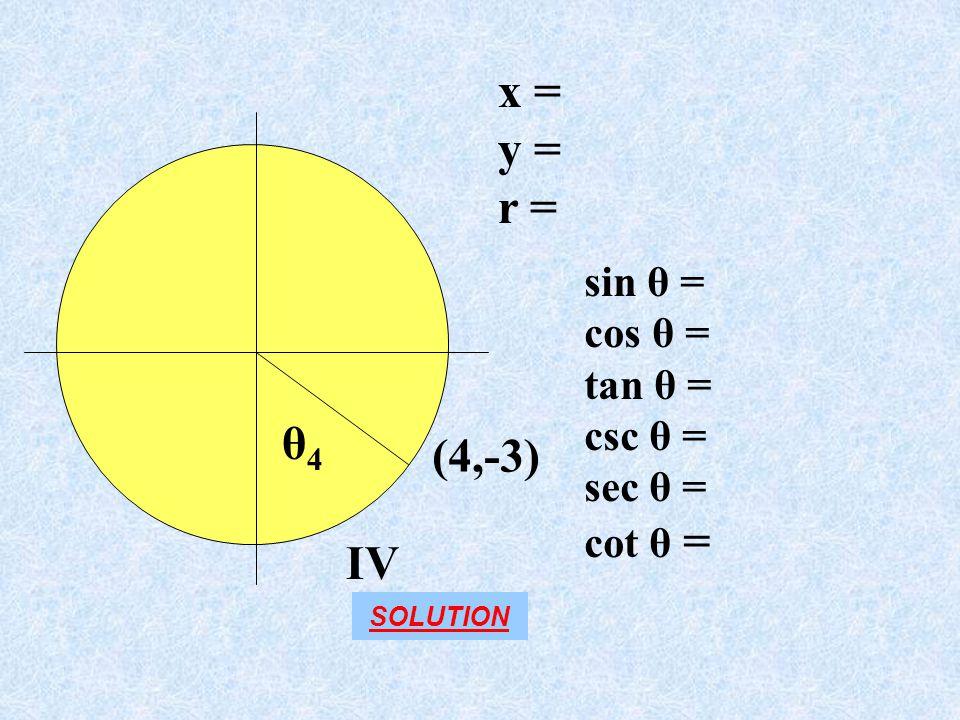x = y = r = θ4 (4,-3) IV sin θ = cos θ = tan θ = csc θ = sec θ =