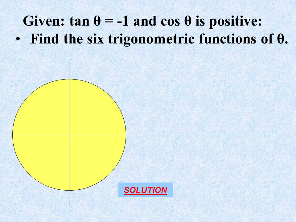 Given: tan θ = -1 and cos θ is positive: