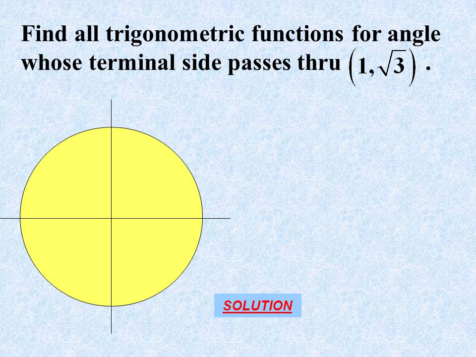Find all trigonometric functions for angle whose terminal side passes thru .