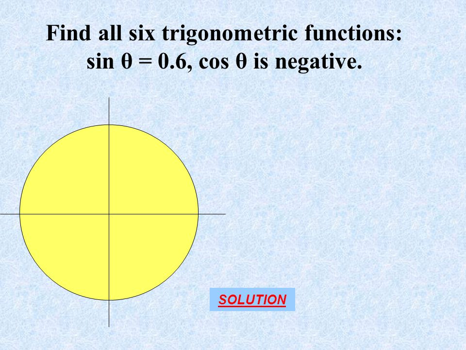 Find all six trigonometric functions: sin θ = 0.6, cos θ is negative.