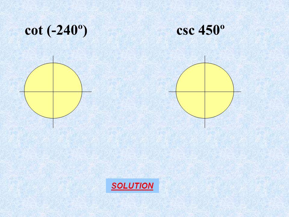 cot (-240º) csc 450º SOLUTION