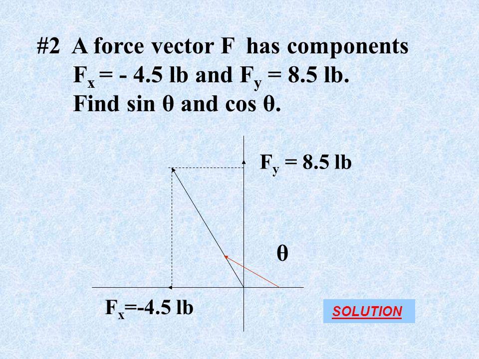 #2 A force vector F has components Fx = - 4.5 lb and Fy = 8.5 lb.