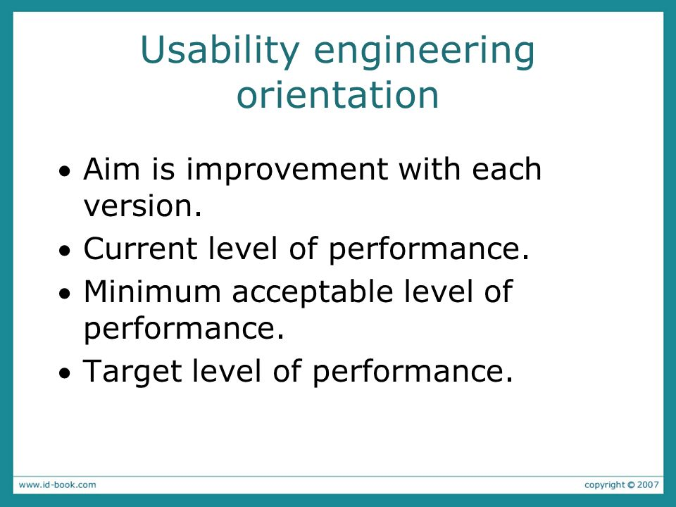 Usability engineering orientation