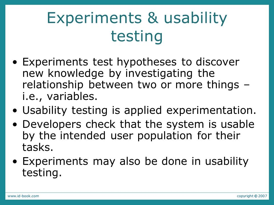 Experiments & usability testing