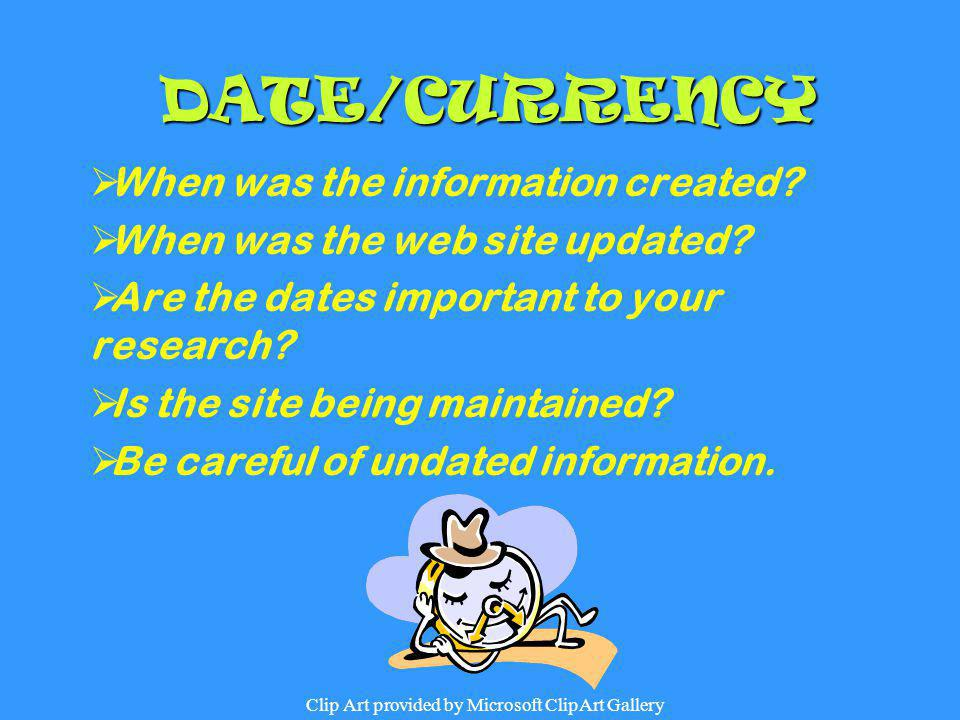 DATE/CURRENCY When was the information created