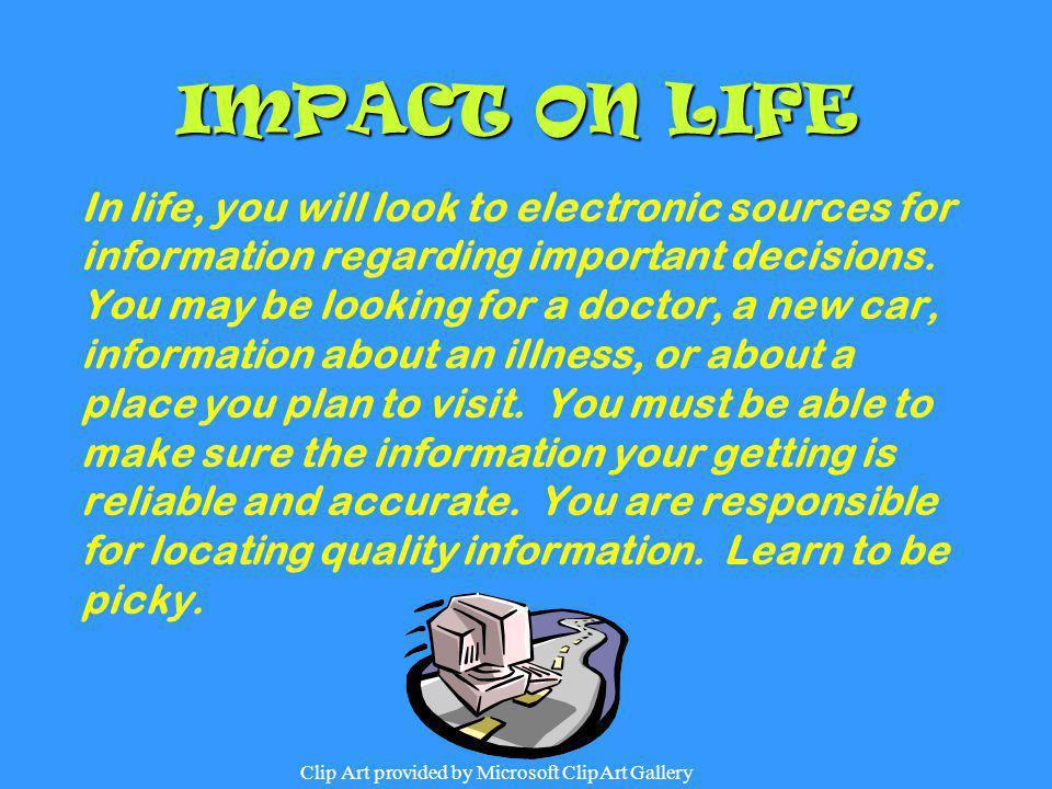 IMPACT ON LIFE