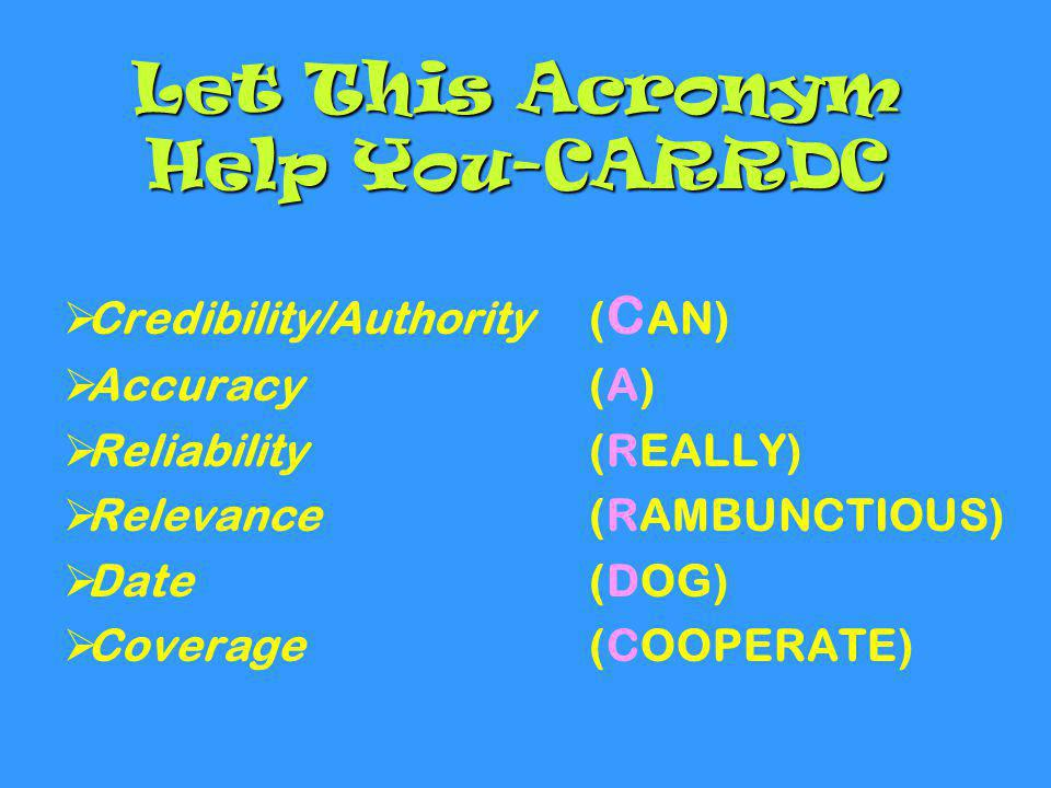 Let This Acronym Help You-CARRDC