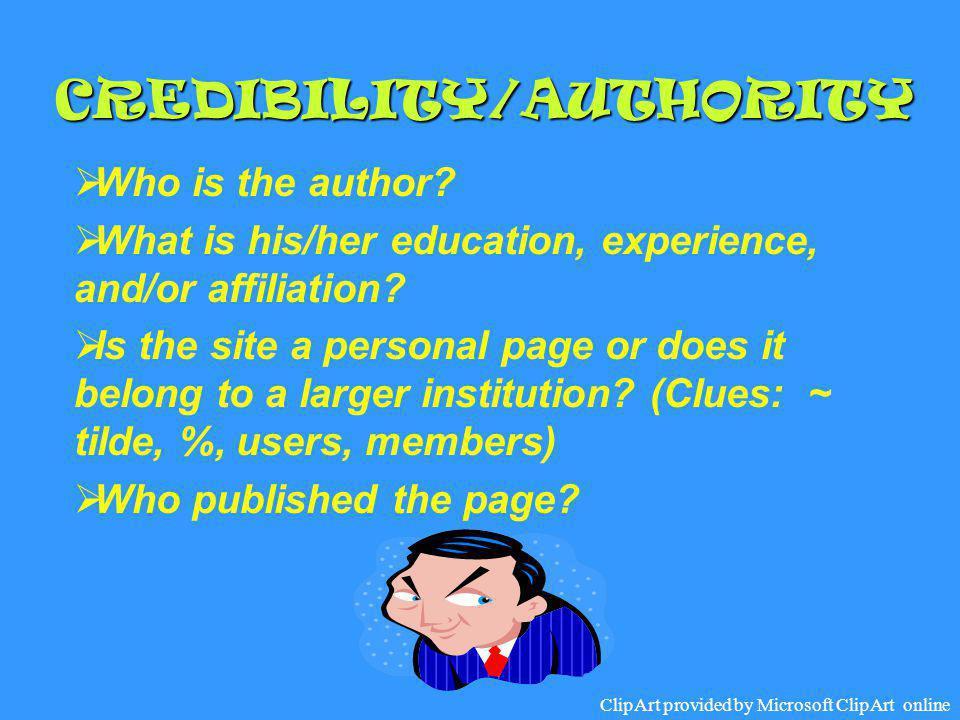 CREDIBILITY/AUTHORITY