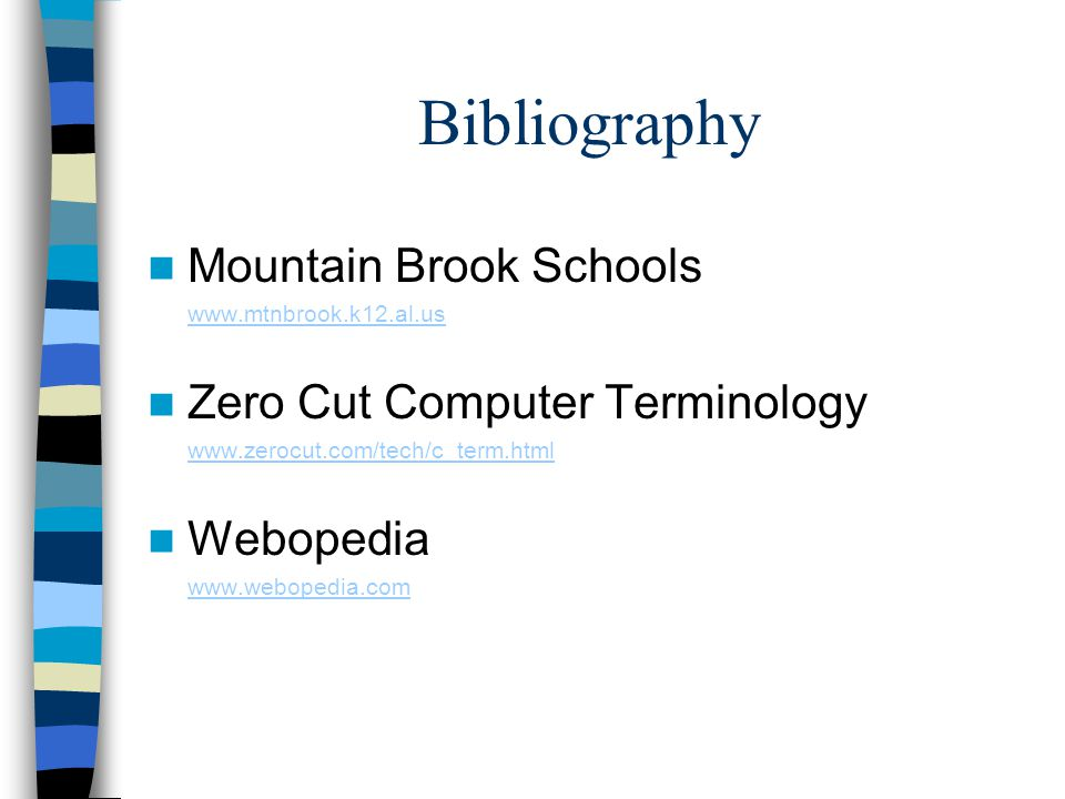 Bibliography Mountain Brook Schools Zero Cut Computer Terminology