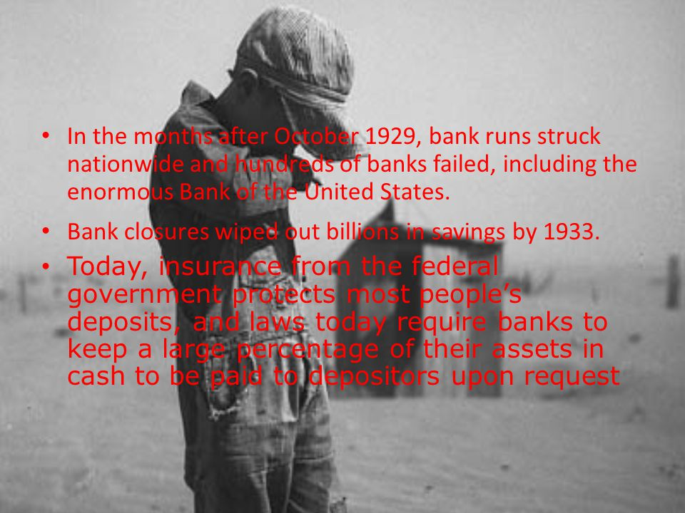 In the months after October 1929, bank runs struck nationwide and hundreds of banks failed, including the enormous Bank of the United States.