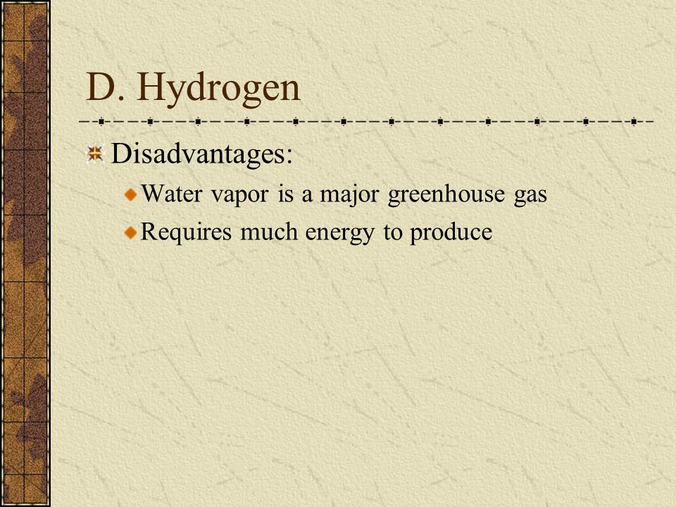 D. Hydrogen Disadvantages: Water vapor is a major greenhouse gas