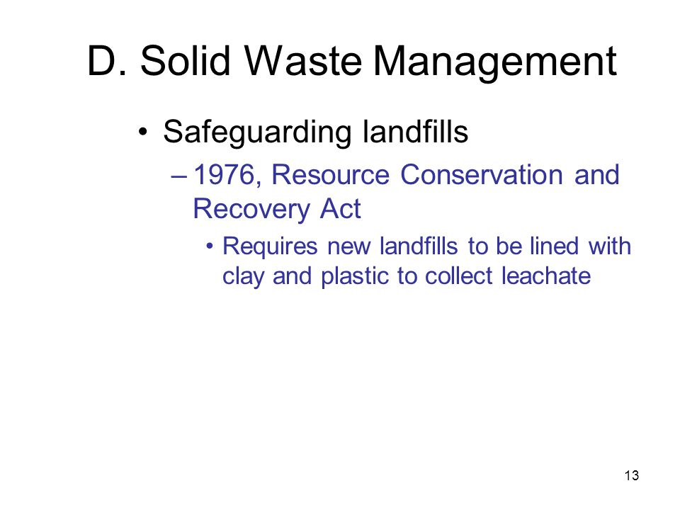 D. Solid Waste Management