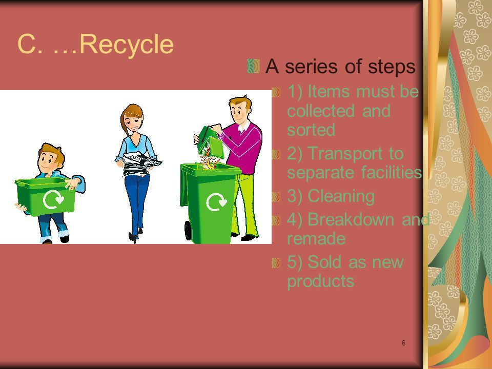 C. …Recycle A series of steps 1) Items must be collected and sorted
