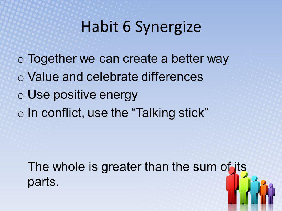 Habit 6 Synergize Together we can create a better way