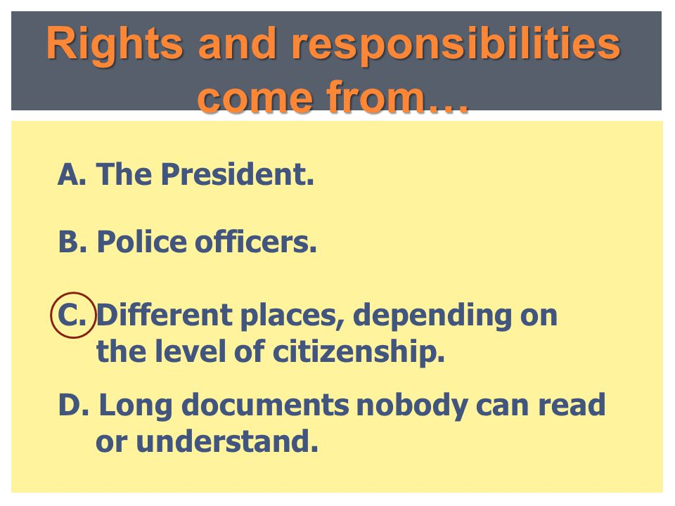 Rights and responsibilities come from…