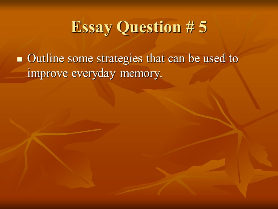 Essay Question # 5 Outline some strategies that can be used to improve everyday memory.