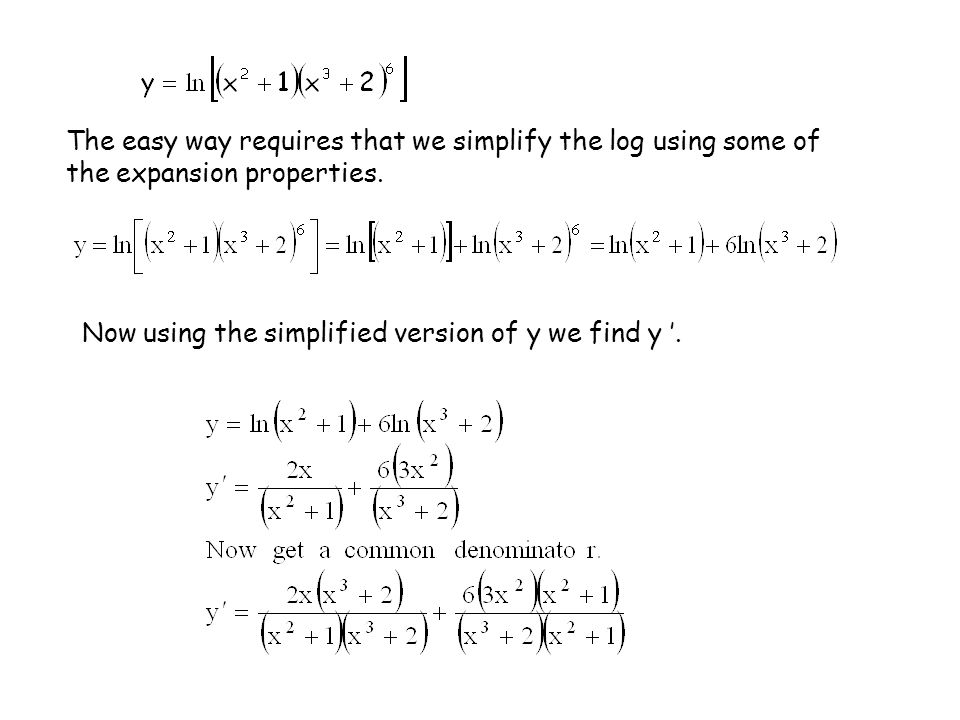 The easy way requires that we simplify the log using some of the expansion properties.