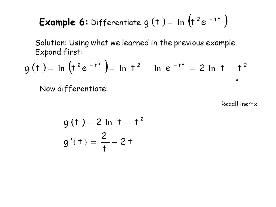 Example 6: Differentiate