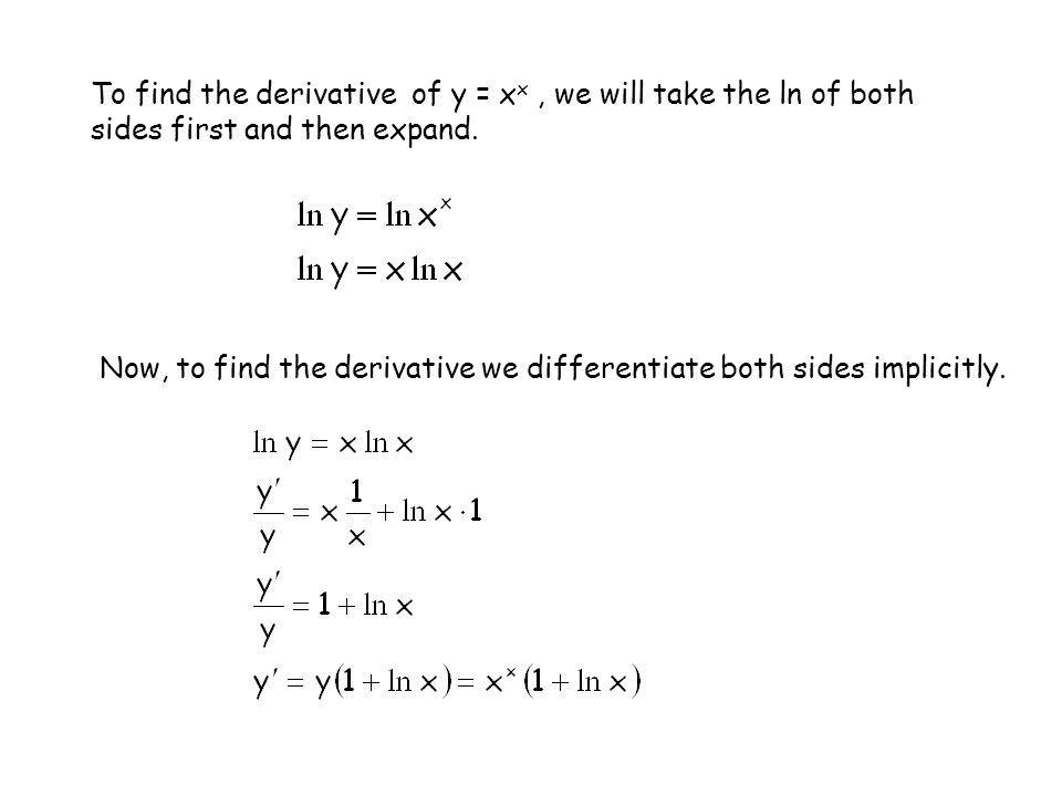 To find the derivative of y = xx , we will take the ln of both sides first and then expand.