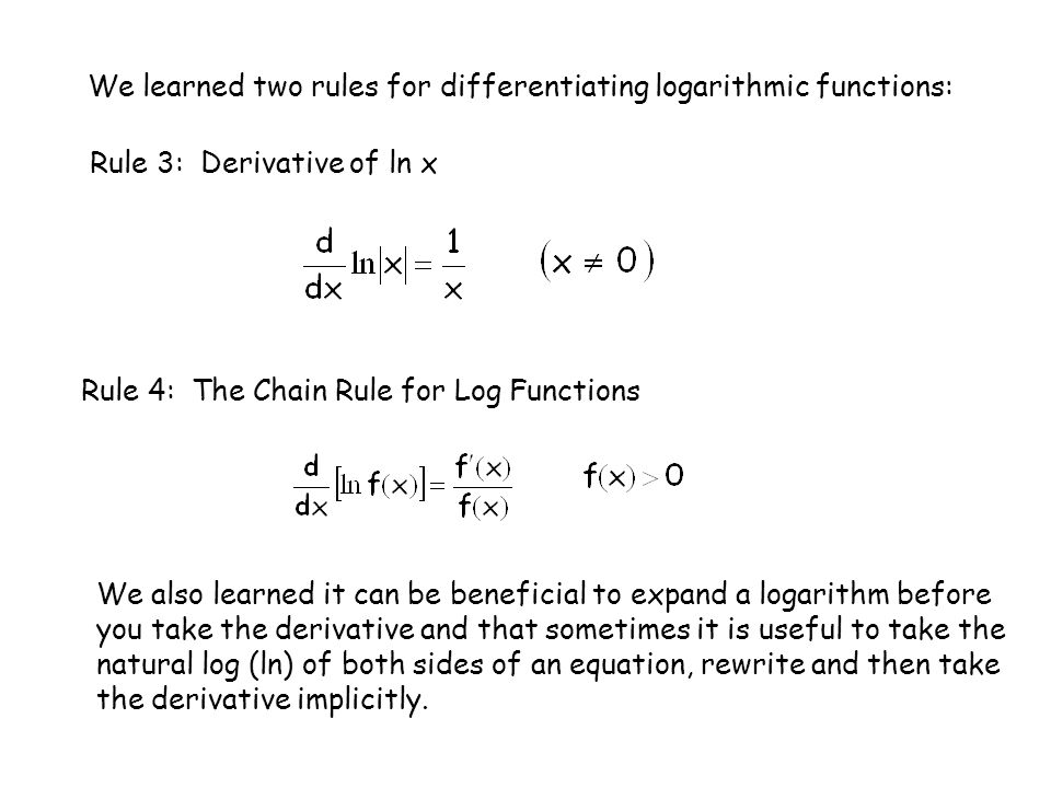 We learned two rules for differentiating logarithmic functions: