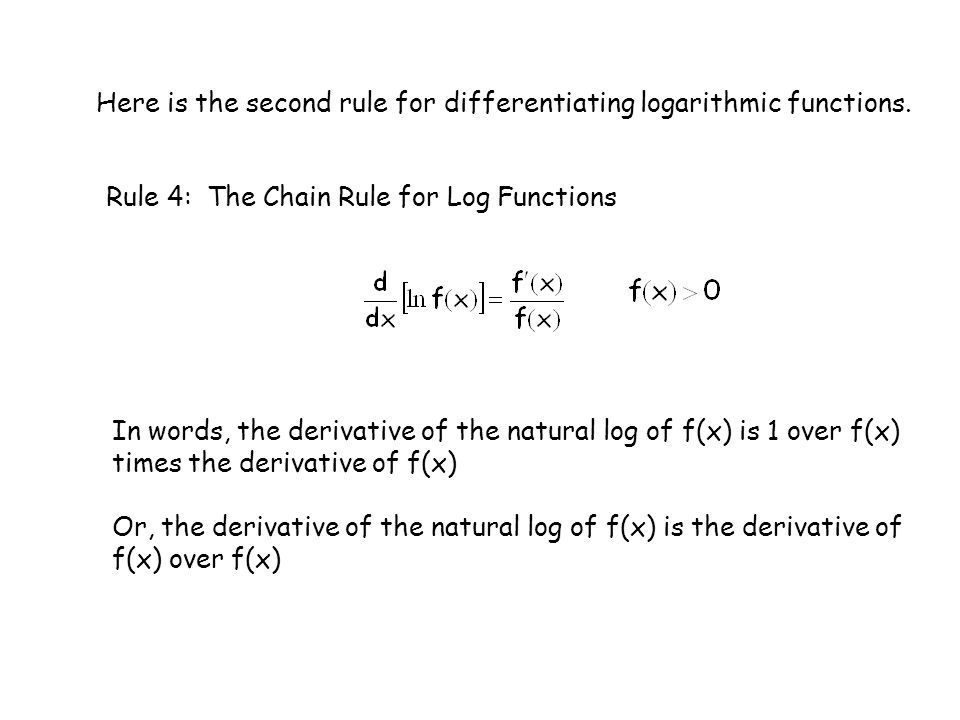 Here is the second rule for differentiating logarithmic functions.