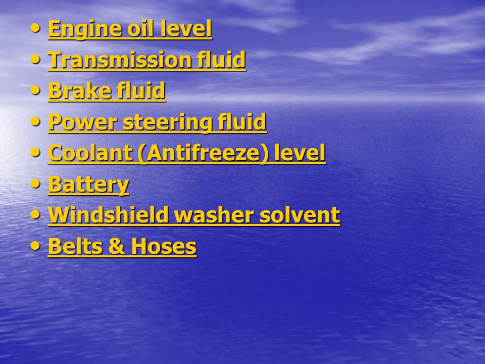 Engine oil level Transmission fluid. Brake fluid. Power steering fluid. Coolant (Antifreeze) level.
