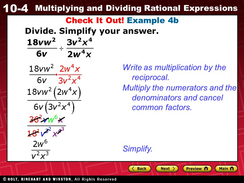 Check It Out! Example 4b Divide. Simplify your answer. Write as multiplication by the reciprocal.