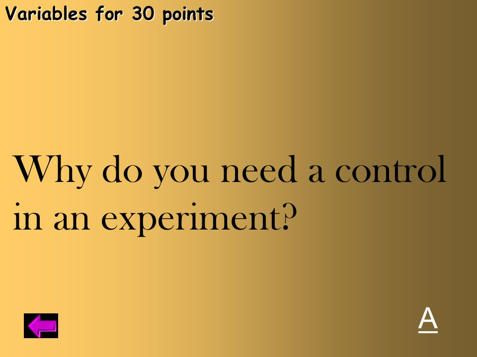 Why do you need a control in an experiment