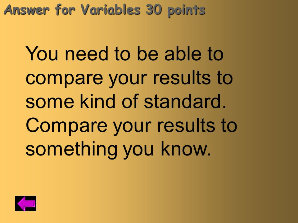 Answer for Variables 30 points